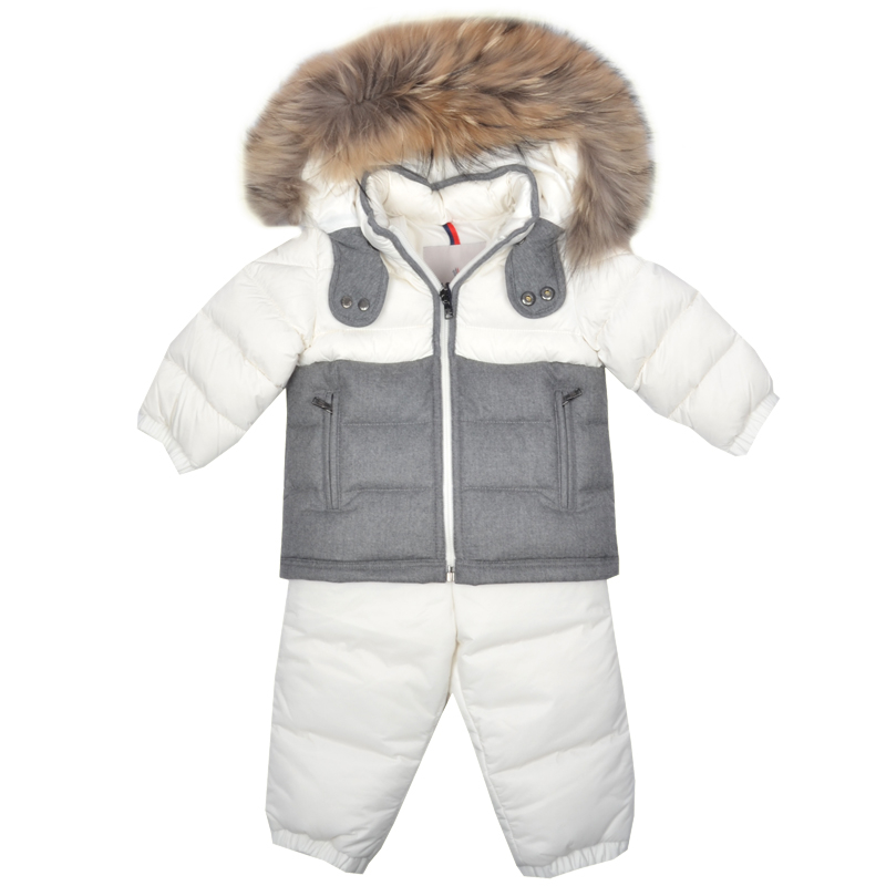 aa5d0bc60eb5 Kids Cavern - Moncler Baby White Grey Snow Suit - Armani Junior